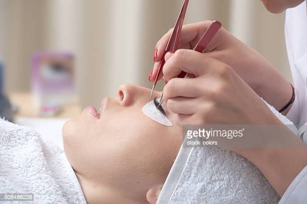 relaxing at spa salon - false eyelash stock pictures, royalty-free photos & images
