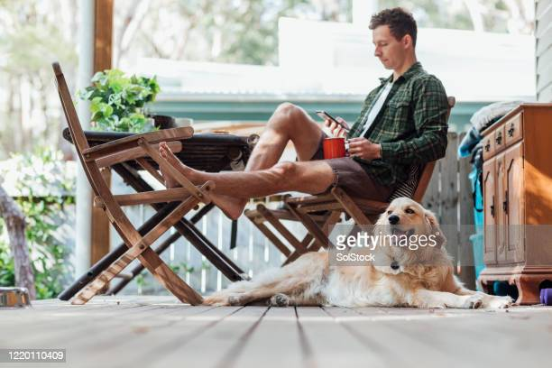 relaxing at the weekend - one man only stock pictures, royalty-free photos & images