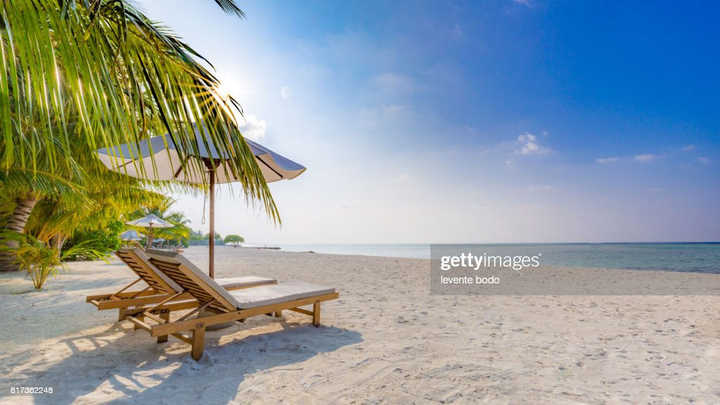 relaxing beach scene chairs and umbrella in palm beach tropical