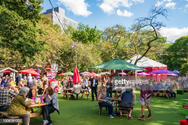 relaxing between shows at the edinburgh festival - edinburgh fringe stock photos and pictures