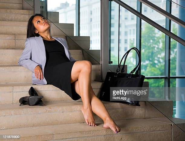 relaxing businesswoman - beautiful asian legs stock photos and pictures