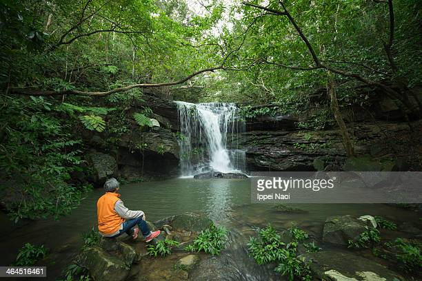 Relaxing by a waterfall in jungle, Okinawa