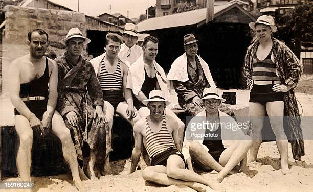 A relaxing day at Watson beach near Sydney for some of the MCC England cricket team circa January 1933 Back row unknown Wally Hammond Harold Larwood...
