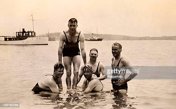 A relaxing day at Watson beach near Sydney for some of the MCC England cricket team circa January 1933 Leftright Freddie Brown Tom Mitchell Wally...