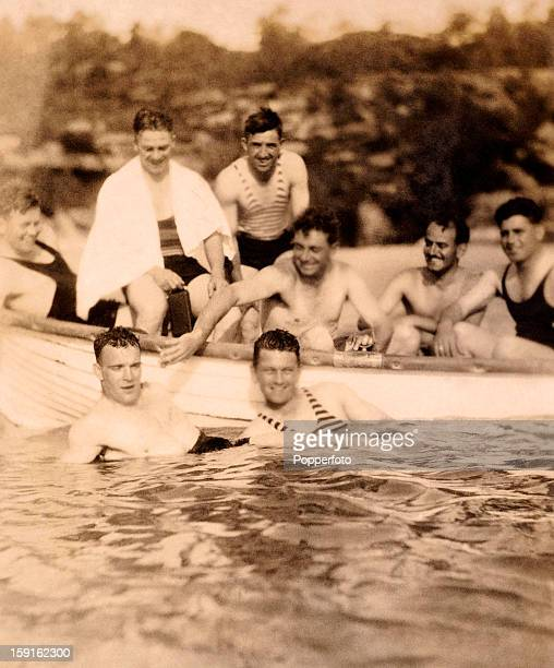 A relaxing day for the MCC England cricket team in Sydney as they prepare for the Ashes Test matches In the boat are leftright Freddie Brown George...