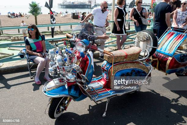 Relaxing during The Mod Weekender on August 27 2017 in Brighton England Brighton became the meeting place for Mods on their scooters in the 1960's...