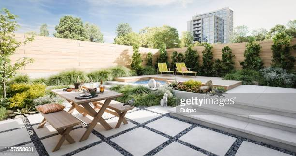 relaxing exterior garden - domestic garden stock pictures, royalty-free photos & images
