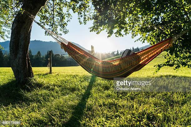 relaxing hammock at sunset - hamac photos et images de collection