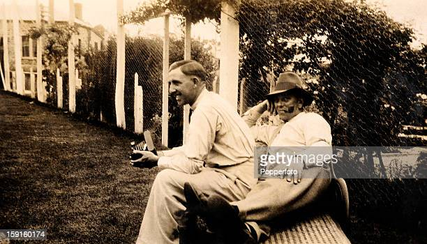 Relaxing in Adelaide Lancashire batsman Eddie Paynter and Yorkshire's Maurice Leyland prior to the 3rd Test match between Australia and England in...