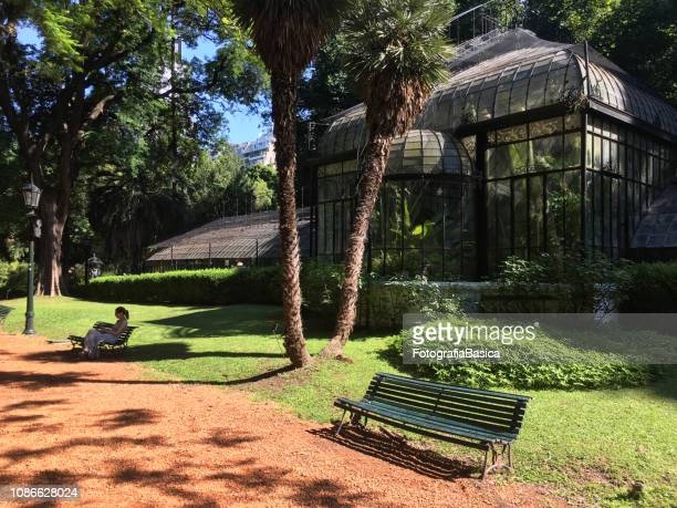 relaxing in botanic garden - palermo buenos aires stock photos and pictures