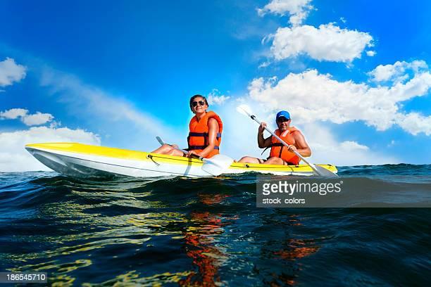 relaxing in canoe