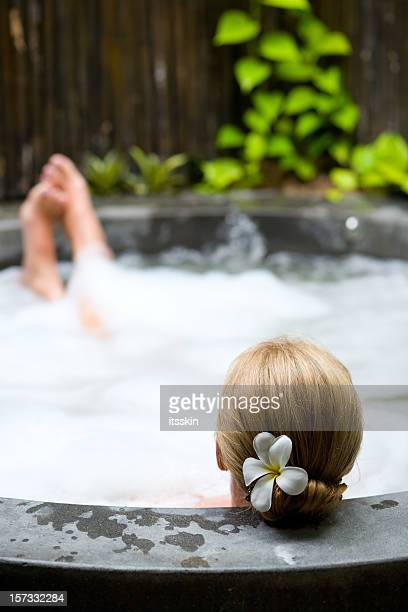 Relaxing in hot tub