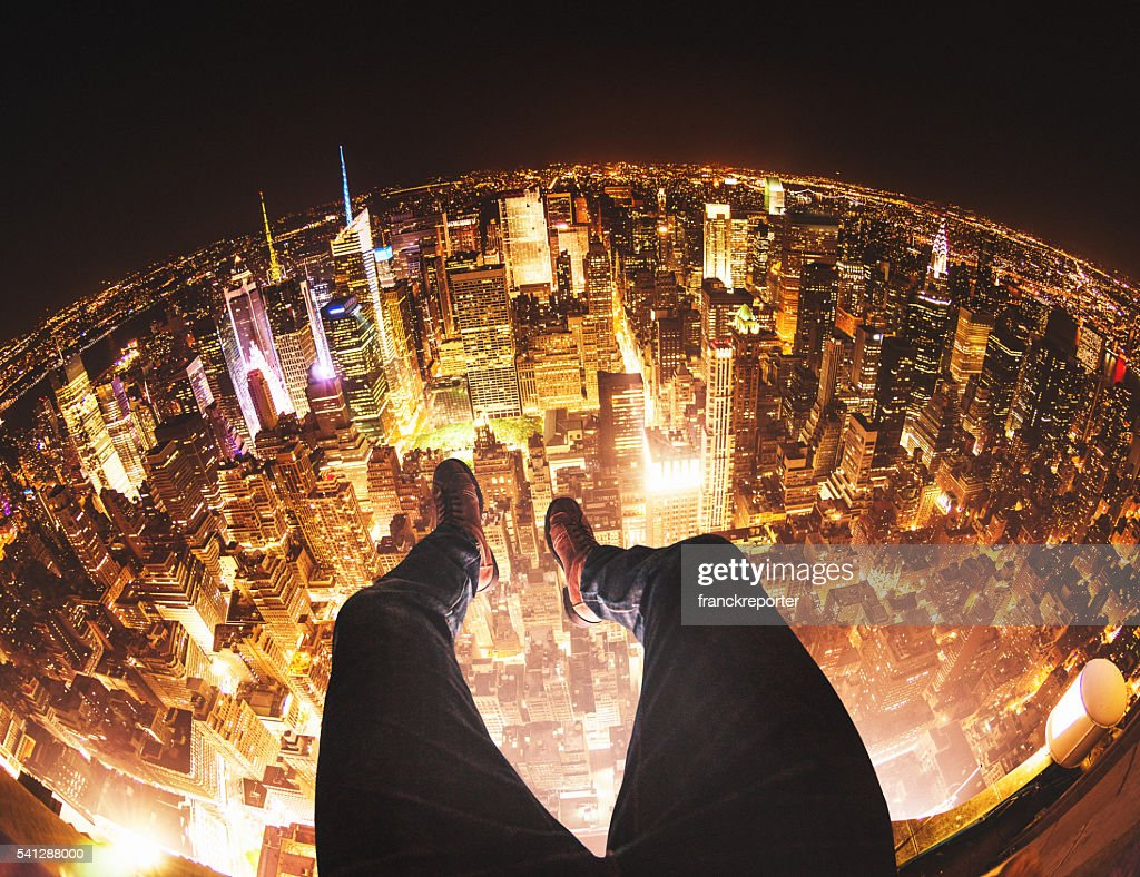 Relaxing in New York City on top of a building : Stock Photo