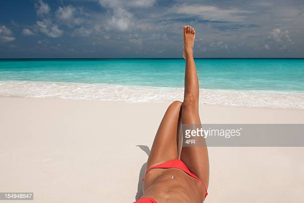 relaxing in paradise - pretty toes and feet stock photos and pictures