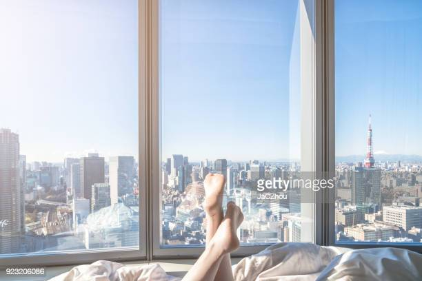 relaxing in the hotel room - hotel imagens e fotografias de stock