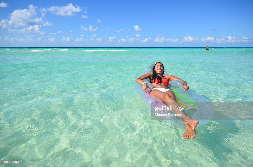 Relaxing in the water, at Cayo Coco, Cuba. : Stock Photo