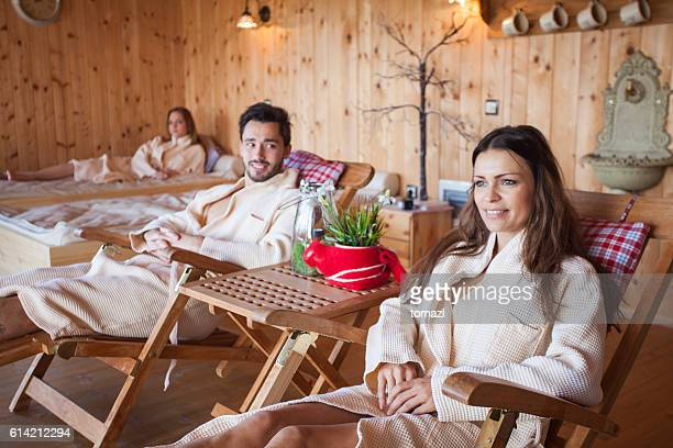 Relaxing in wooden spa
