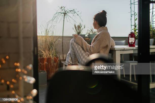 relaxing mornings on my terrace - morning stock pictures, royalty-free photos & images