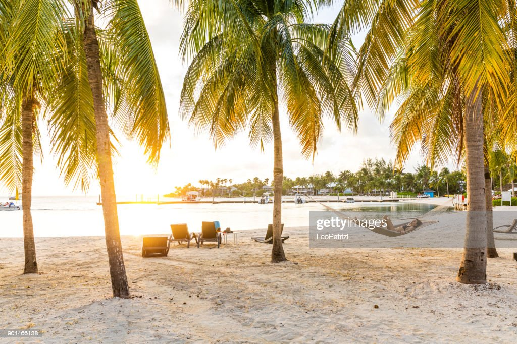 Relaxing on hammock after a beach day in the Caribbean - Cayman Islands : Stock Photo