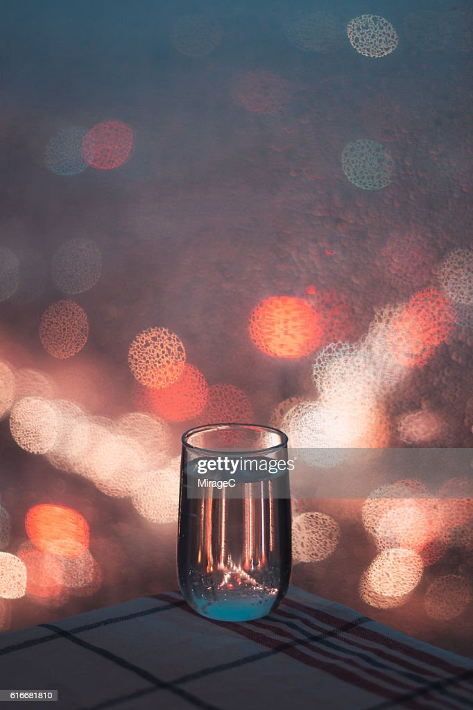 Relaxing Soda Water in Rainy Night : Stock Photo