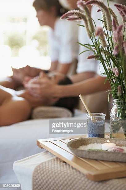relaxing the mind and spirit - husband massage wife stock photos and pictures