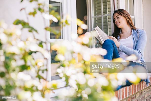 Relaxing with a nice book in the country