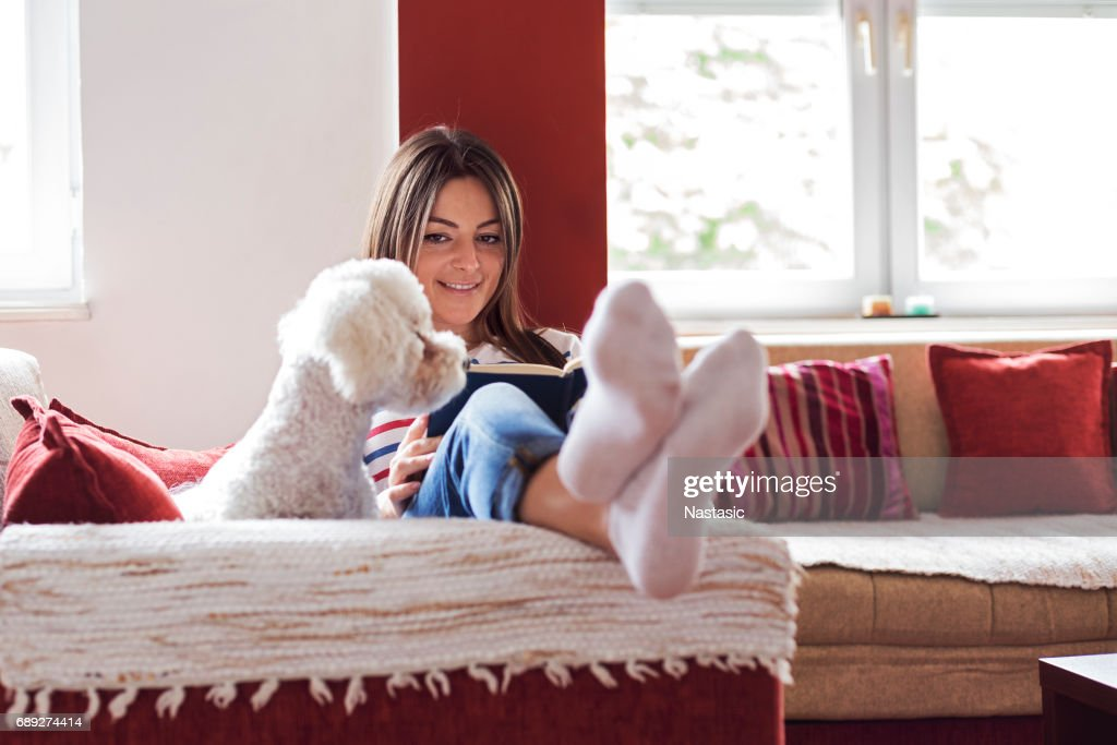 Relaxing with good book and pet : Stock Photo