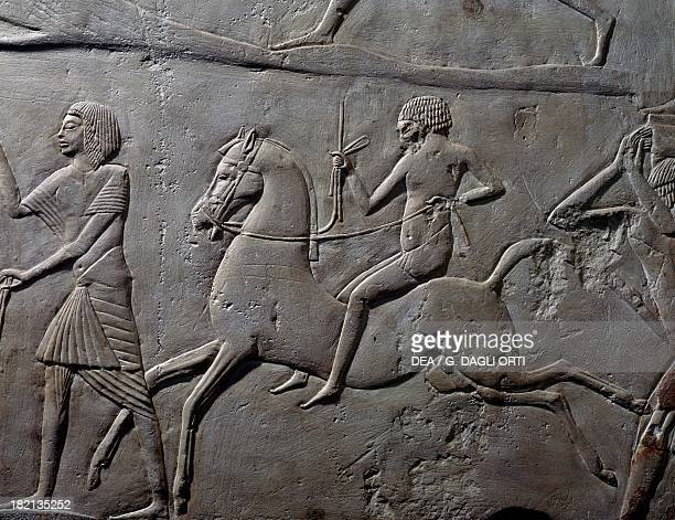 Relay race on horseback detail of a wall relief depicting a military camp of soldiers limestone from the Memphite Tomb of Horemheb at Saqqara...