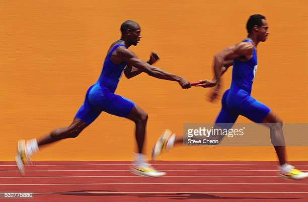 relay runner passing baton - relay stock pictures, royalty-free photos & images