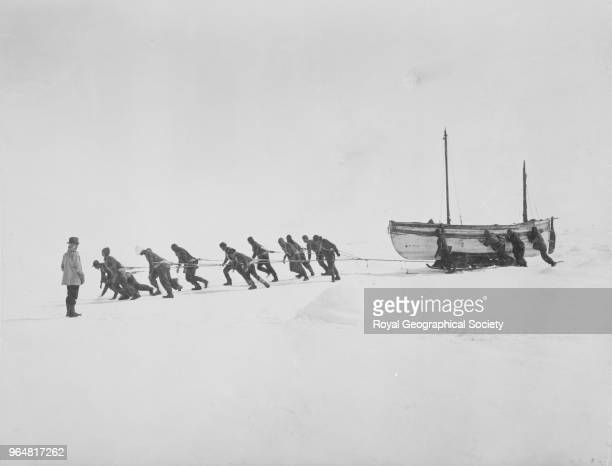 Relaying the 'James Caird' across the ice Antarctica November 1915 Imperial TransAntarctic Expedition 19141916