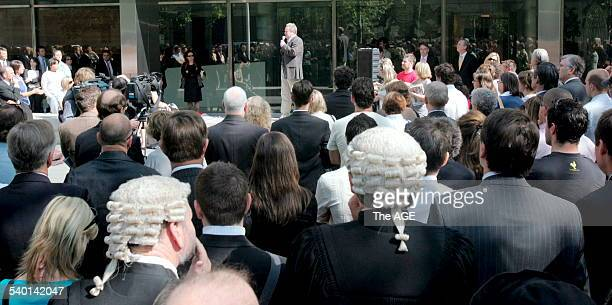 Release David Hicks demonstration at County Court. Peter Gordon addresses the lawyer demonstration. 8 December, 2006 THE AGE NEWS Picture ANDREW DE...