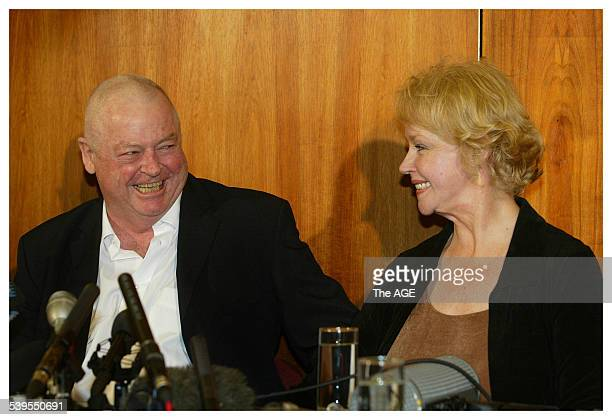 Released Australian hostage Douglas Wood with his American wife Yvonne Given at a media briefing at Melbourne Airport on his arrival from Dubai 20...