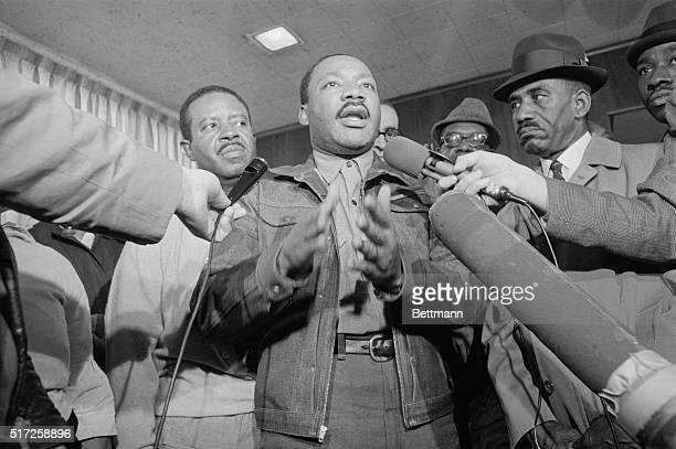 Released Birmingham ALA Rev Ralph Abernathy and Dr Martin Luther King are greeted with microphones as they emerge from the Jefferson County jail...