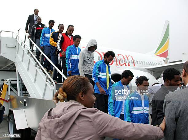 27 released Ethiopians who were abducted in wartorn Libya arrive at Addis Ababa Bole International Airport in Ethiopia on May 8 2015