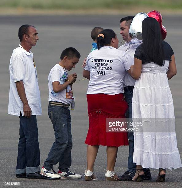 Released FARC hostage, the councilman of San Jose del Guaviare, Marcos Baquero , --abducted in June 2009-- is greeted by relatives upon his arrival...
