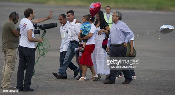Released FARC hostage, the councilman of San Jose del Guaviare, Marcos Baquero , --abducted on June 2009-- walks with relatives upon his arrival at...