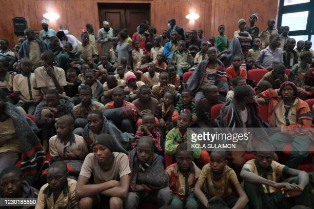 Released students gather at the Government House with other students from the Government Science Secondary school, in Kankara, in northwestern...
