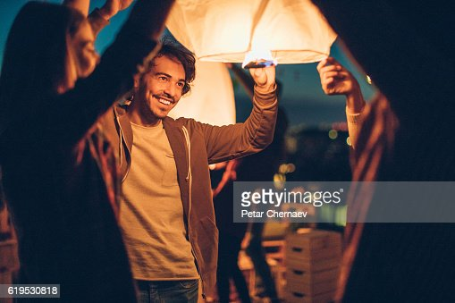 Releasing a Chinese lantern