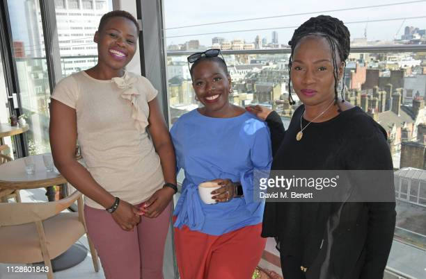 Relebohile Leoatha Candice Brathwaite and Junnie Grant attend the mothers2mothers Wonder Women Tea at Bourne Hollingsworth's Garden Room on March 4...