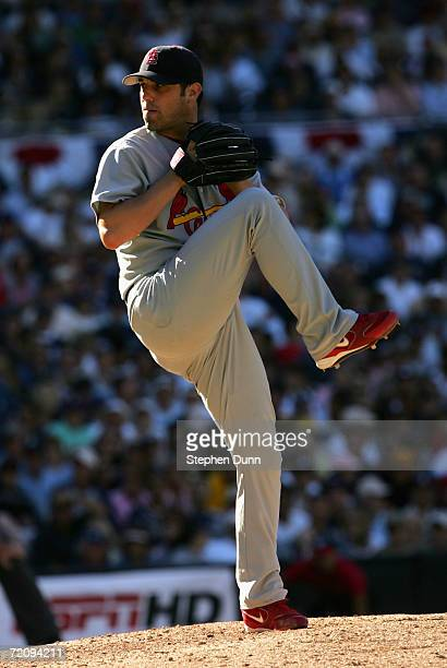 Releif pitcher Tyler Johnson of the St Louis Cardinals pitches against the San Diego Padres during the National League Division Series Game 1 on...