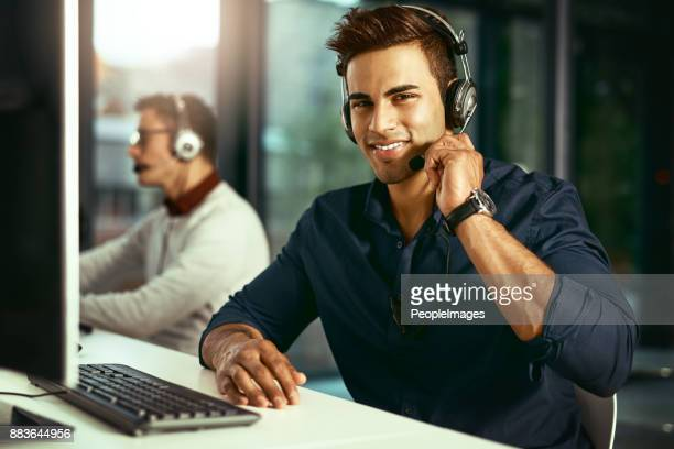 reliable customer care is just one call away - happy computer headset stock pictures, royalty-free photos & images