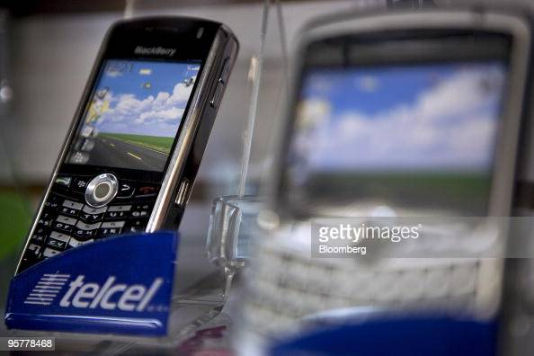 A Reliance In Motion BlackBerry mobile phone is displayed in