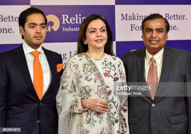 Reliance Industries Chairman Mukesh Ambani and Director Nita Ambani and Anant Ambani during the Reliance Industries 41st Annual General Meeting at...
