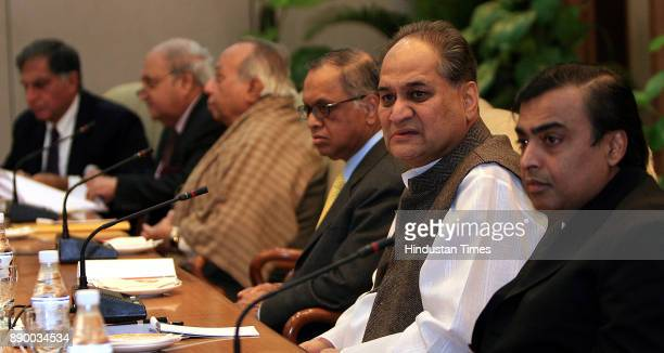 Reliance Industries Chairman Mukesh Ambani Bajaj Chairman Rahul Bajaj and others during the meeting of Prime Minister's Council on Trade and Industry...