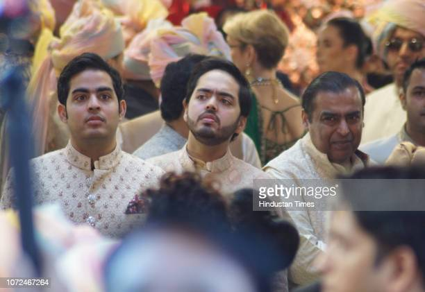 Reliance Industries Chairman Mukesh Ambani with sons Anant Ambani and Akash Ambani during wedding of his daughter Isha Ambani and Anand Piramal at...
