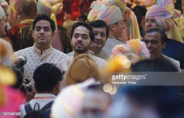 Reliance Industries Chairman Mukesh Ambani with sons Anant Ambani and Akash Ambani during the wedding of his daughter Isha Ambani and Anand Piramal...