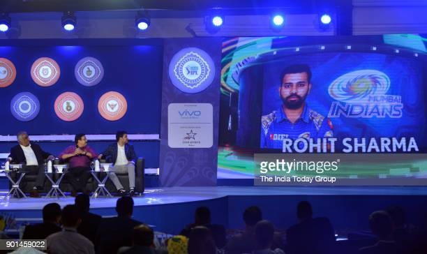 Reliance Jio board member Akash Ambani Sunrisers Hyderabad mentor VVS Laxman and other dignitaries during IPL 2018 Player Retention announcement in...