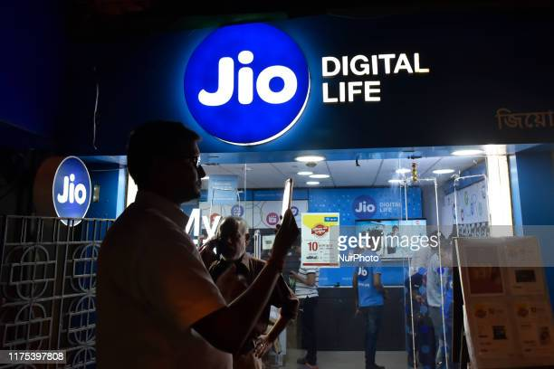 Reliance Jio store in Kolkata, India, 12 October, 2019. Reliance Jio has come up with a new offer, wherein it is offering them with 30 minutes of...