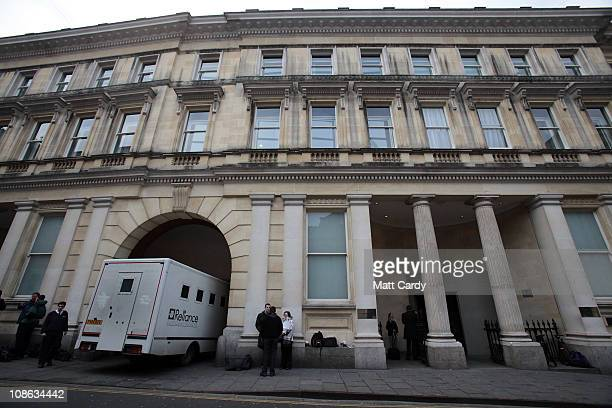 Reliance prison van arrives at Bristol Crown Court as media wait for a prelimiminary hearing for the murder of Joanna Yeates on January 31 2011 in...