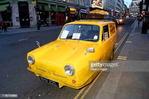 Reliant Robin car similar to the one featured in the television series Only Fools and Horses is seen at the opening night of Only Fools and Horses...